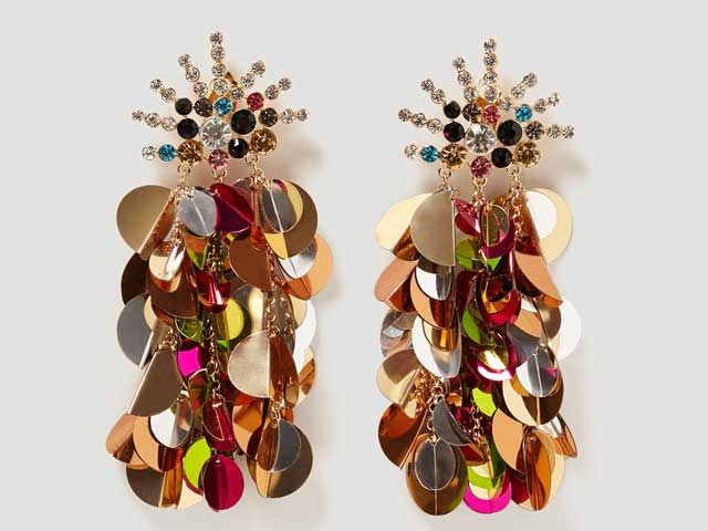 Embellished earrings available at Zara