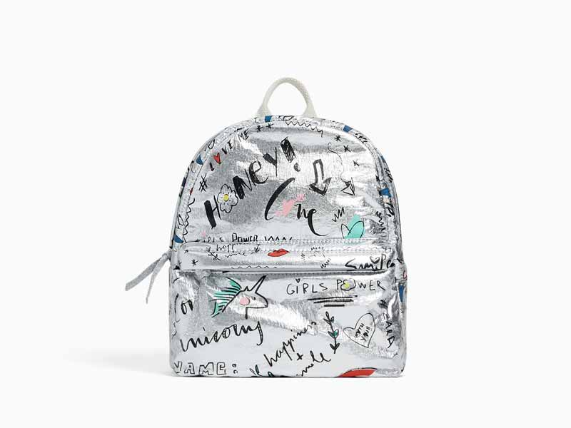 ba42ffec24 Silver backpack by Zara Kids available at Mall of the Emirates and City  Centres
