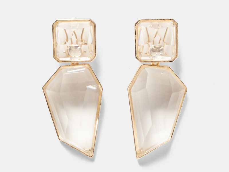 Clear stone earrings by Zara Dubai