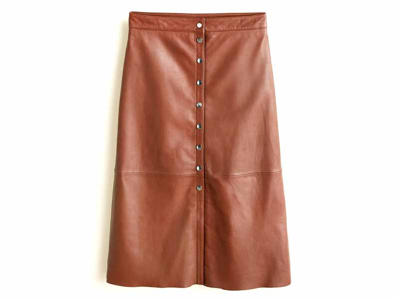Leather skirt by Mango, available at Mall of the Emirates and City Centres