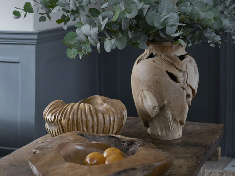 Wooden bowls and vase by Zara Home, available at Mall of the Emirates