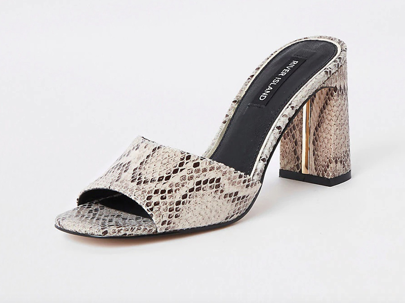 c44dbf332 Snakeskin heeled mule shoes by River Island at City Centre Mirdif