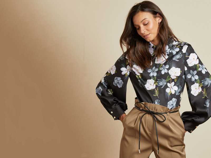Black floral blouse by Ted Baker, available at City Centre Mirdif