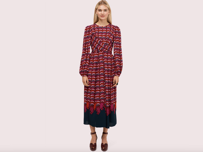 Printed crepe midi dress by Kate Spade New York, available at City Centre Mirdif
