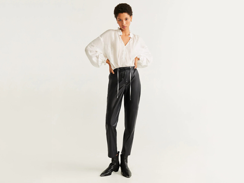 Leather tracksuit trousers by Mango, available at City Centre Mirdif