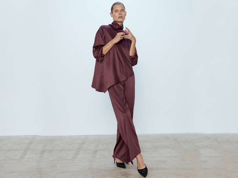 Purple satin jumpsuit by Zara, available at City Centre Mirdif