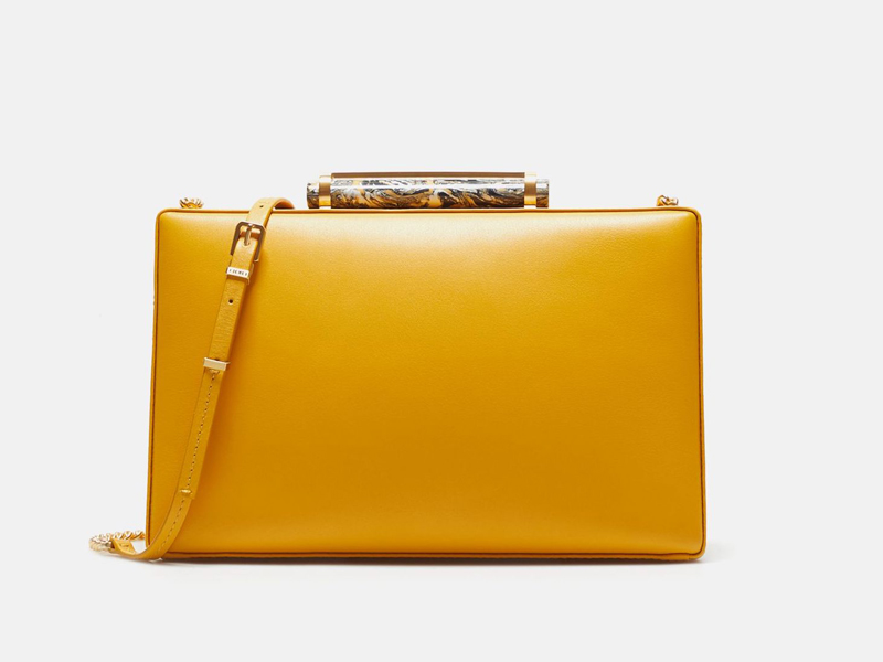 Yellow leather Ella Insignia handbag by CH Carolina Herrera available at City Centre Mirdif