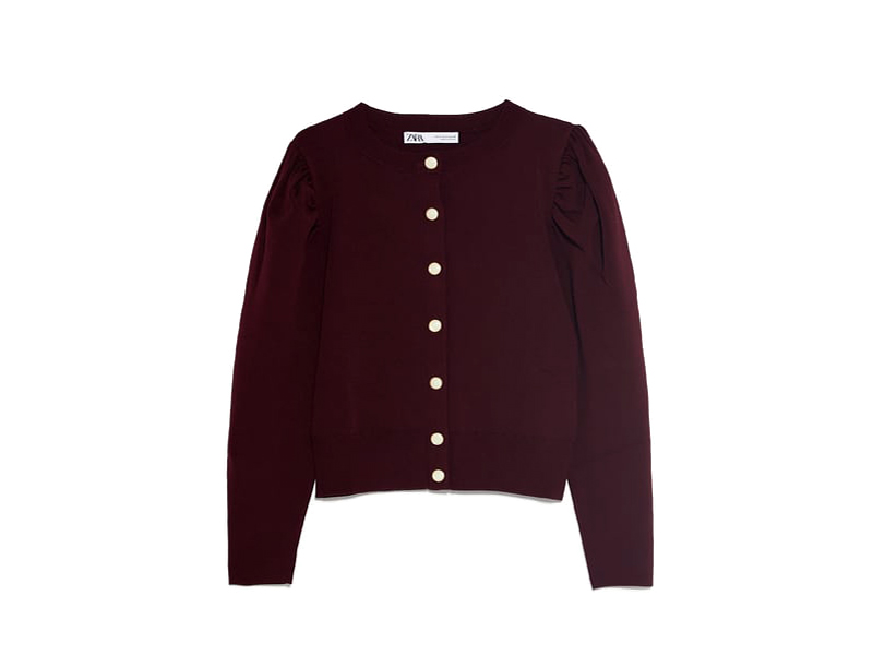 Burgundy cardigan jacket by Zara available at City Centre Mirdif