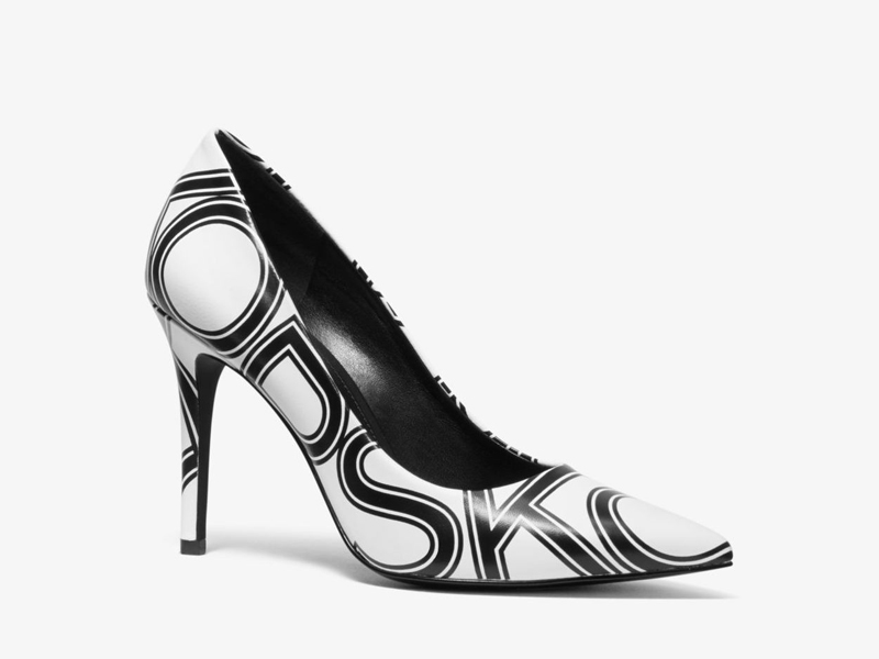 Monochrome logo heels by Michael Kors available at City Centre Mirdif