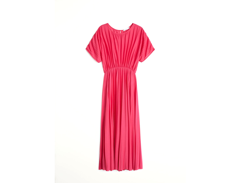 Pink pleated maxi dress by Mango available at City Centre Mirdif