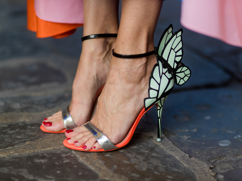 Sophia Webster butterfly heel sandals in a street style photo