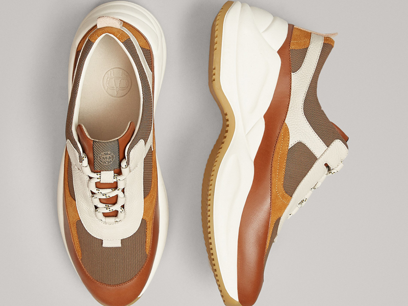 Combined tan leather trainers by Massimo Dutti, available at City Centre Mirdif