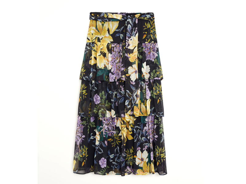 Black floral print skirt by Mango available at City Centre Mirdif