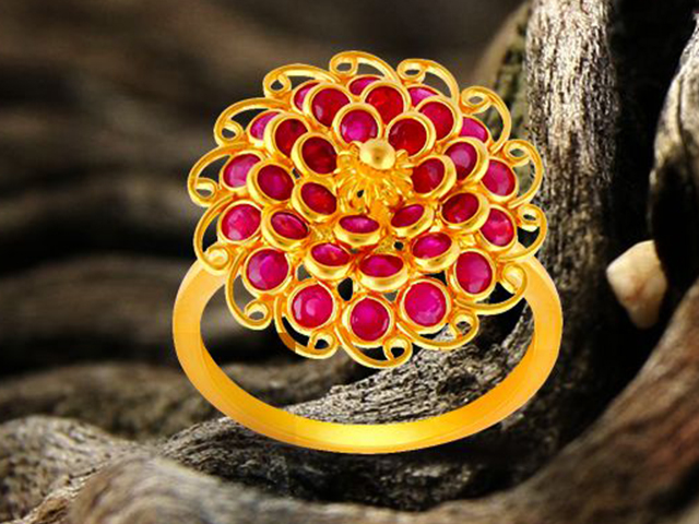 Gold ring, Precia Gemstone Jewellery collection, Malabar Gold