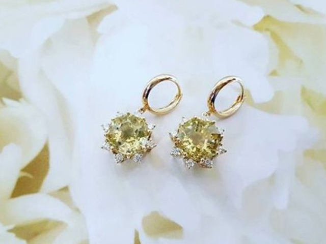 Yellow quartz & diamond earrings, De Paz Jewellery, Gold and Diamond Park